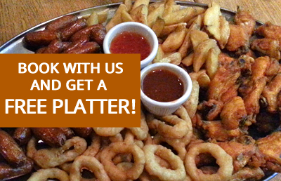 Book a table with us and get a free platter